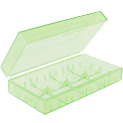 Zielone półprzezroczyste pudełko na akumulatory RCR123 i inne pasujące