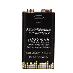 Akumulatorek bateria 9V audio 1000 mah z USB 6LR61 6F22 6AM6 522 Block 9V MN1604